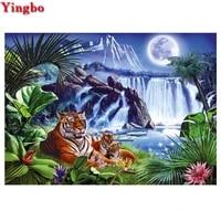 5d diamond painting tiger animal diamond embroidery waterfall landscape full square round drills rhinestone mosaic sticker
