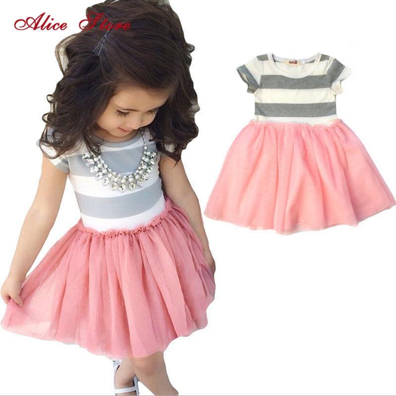 2018 new children clothing Toddler Girls Short Sleeve Tops Mini Dress Striped Princess Pleated Dress