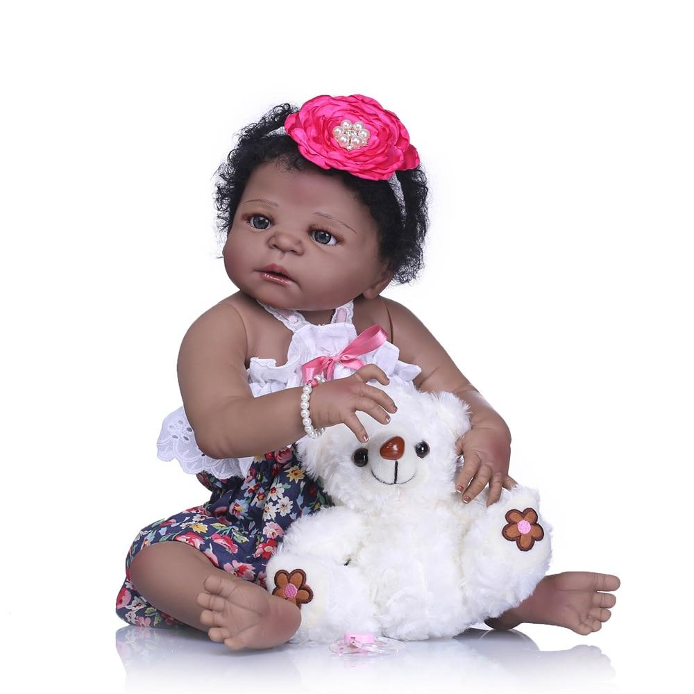 "NPK boneca preta cheia de silicone bonecas reborn menina bebê 23 ""37 cm com urso branco bebes reborn boneca de menina crianças boneca de presente"