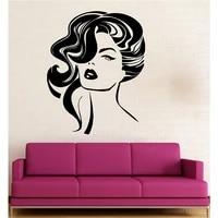 Decoration de la maison Stickers muraux vinyle decalcomanie Sexy fille coiffure mode Salon de beaute decalcomanies