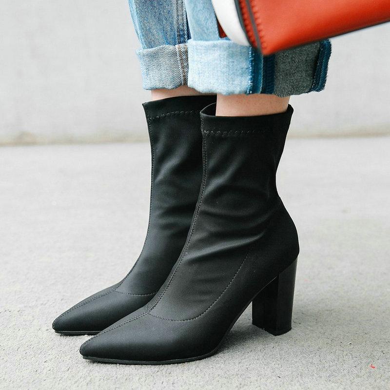 Botas de calcetín para talón alto con puntera negra roja azul, botas cortas elásticas de LICRA para mujer, vestido de fiesta para mujer, botas de otoño verano 2019