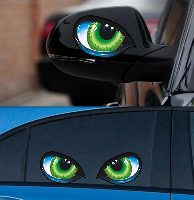 Cat Eyes Car Stickers 3D Vinyl Decal for fiat stilo vw touran renault scenic 2 alfa romeo 147 nissan qashqai j10 volvo s60