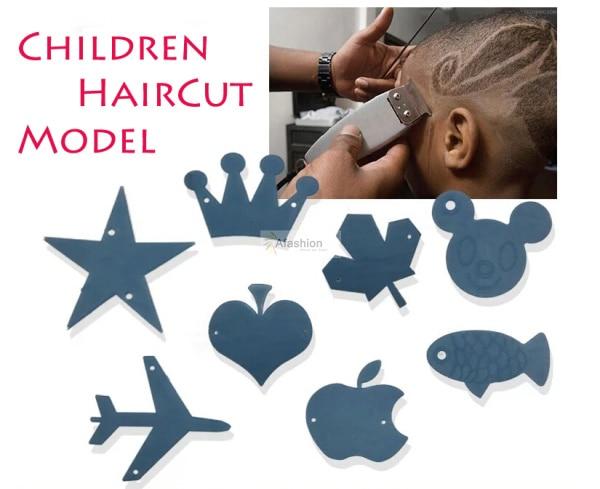 8pcs Lovely Children haircut Model cute barber Hair Trimmer template DIY styling tools heart start fish Variety shape