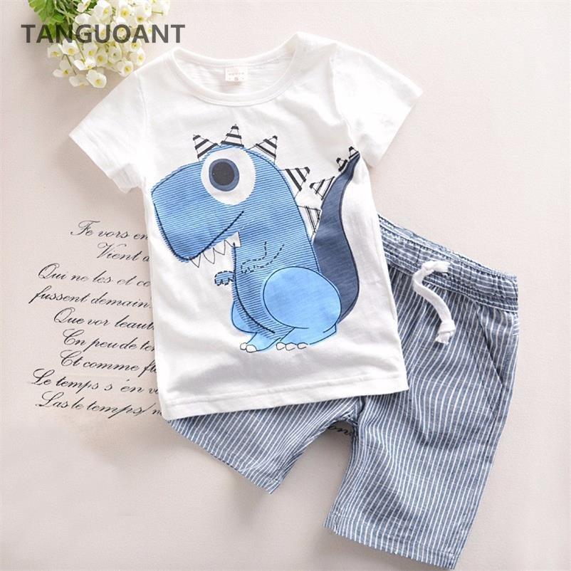 TANGUOANT Hot Sale Brand Boys Clothing Children Summer Boys Clothes Cartoon Kids Boy Clothing Set T-shit+Pants Cotton