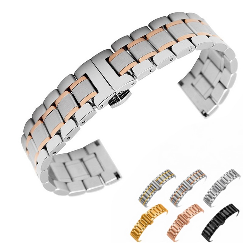 Купить с кэшбэком 14mm 16mm 18mm 22mm 24mm Stainless Steel Watch band Strap Bracelet Watchband Wristband Butterfly clasps Rose Gold Silver