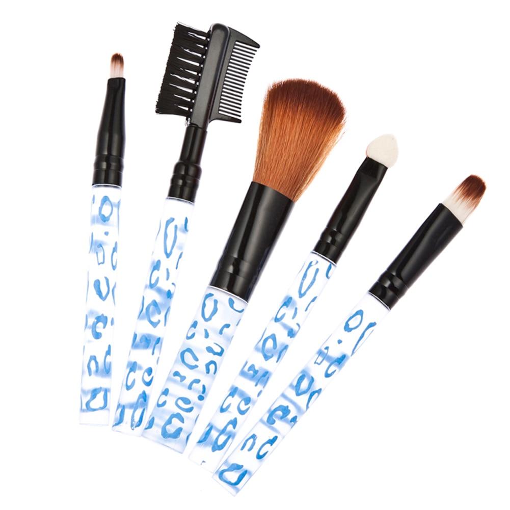 5 uds nuevo juego de brochas cosméticas de maquillaje profesional leopardo azul