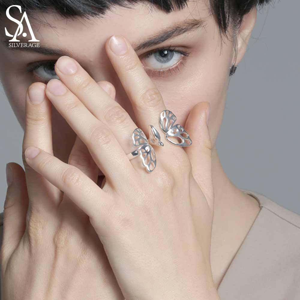 Conjuntos de 925 anillos de plata esterlina ajustables SA silmediate para mujer, joyería fina, anillos dobles de mariposa para bodas a la moda