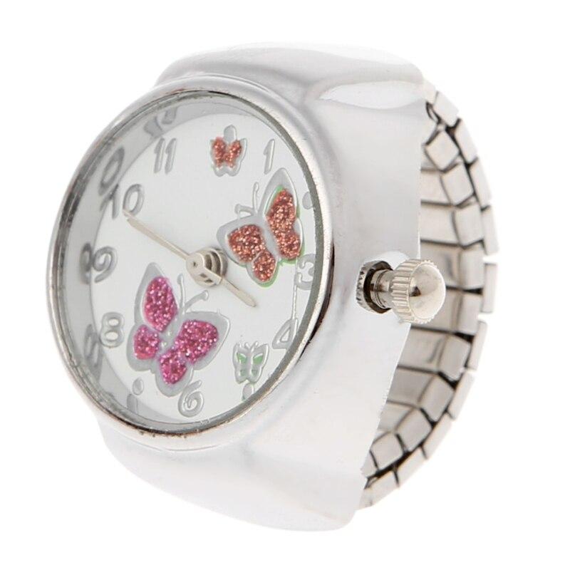 Women Dial Quartz Analog Finger Ring Watch Butterfly Elastic Gift Creative Steel