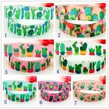 DHK 7/8 Free shipping Cactus flowers printed grosgrain ribbon headwear hair bow diy party decoration OEM 22mm B1460