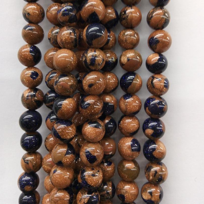 6/8/10MM piedras de Mahagony naturales espaciador redondo azul oro mezcla cuentas sueltas para agatos de cuprita malaquita pulsera de joyería