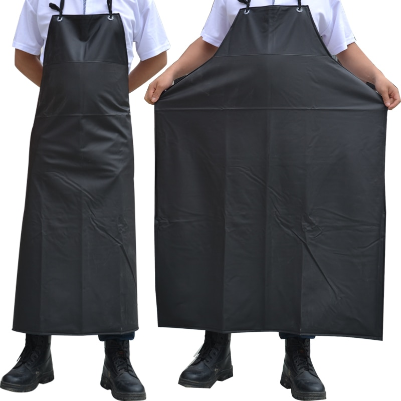 Oil-proof Waterproof Aprons Sleeveless Cooking Men Aprons Kitchen Restaurant Hotel  Adult Chef Black PVC Apron Long For Women geometric style hot sale high quality cotton waterproof women aprons adjustable sleeveless kitchen cooking aprons