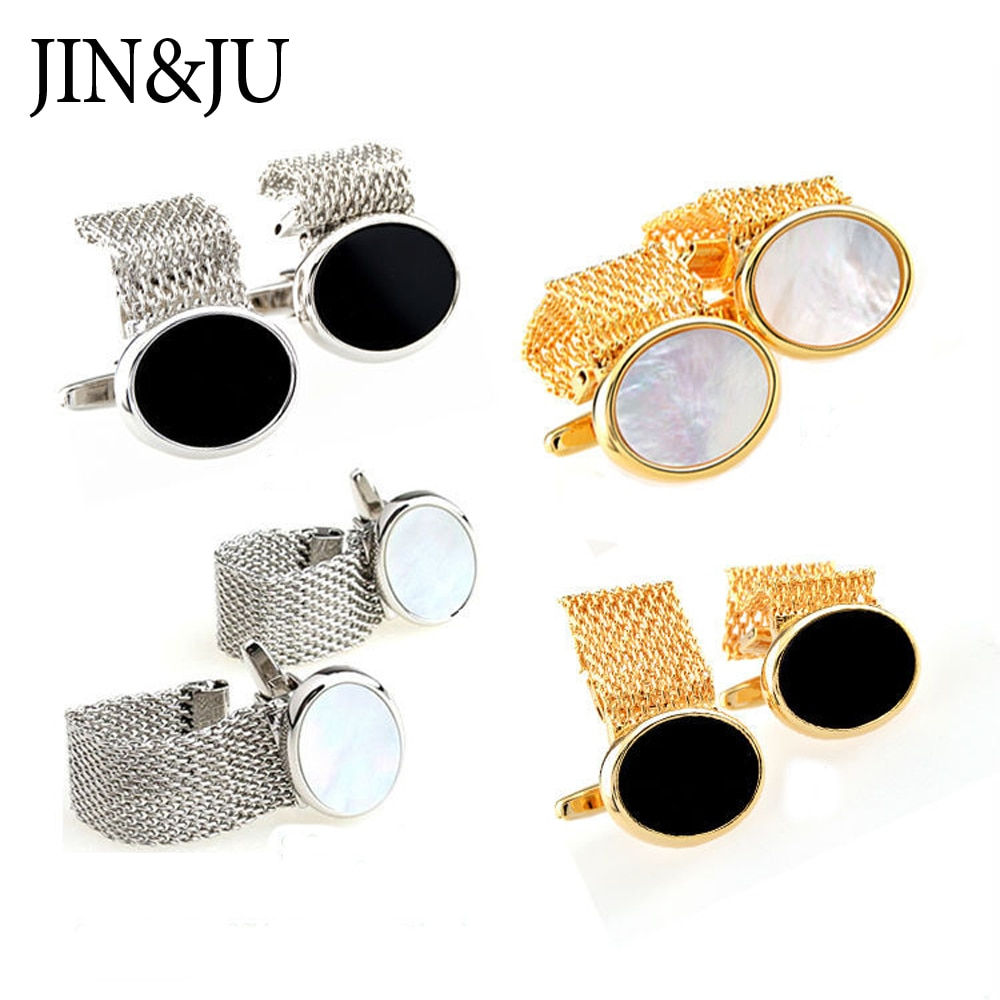 JIN&JU Mens Shell Cufflinks Gold Color Plated High Quality Chain Cuff links for men Romantic Wedding Groom Shirt Dress Cufflink
