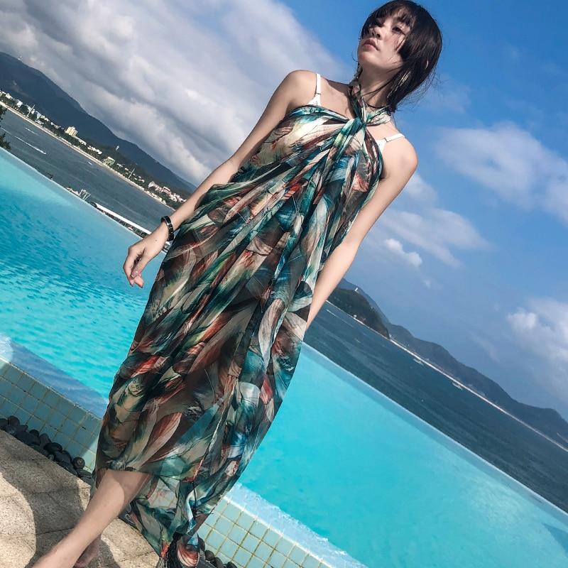 Scarf female summer shawl chiffon wild beach towel travel holiday scarf dual-use large sunscreen scarf enlarge