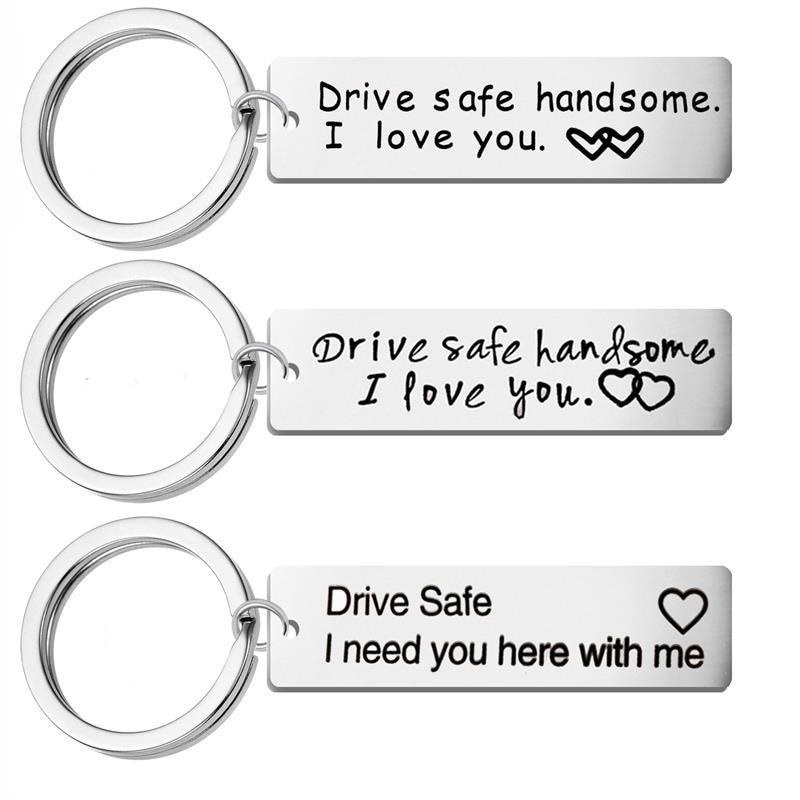 Custom Fashion charms Keyring Gifts Engraved Drive Safe I Love You Keychain Couples Boyfriend Girlfriend Jewelry Key Chain