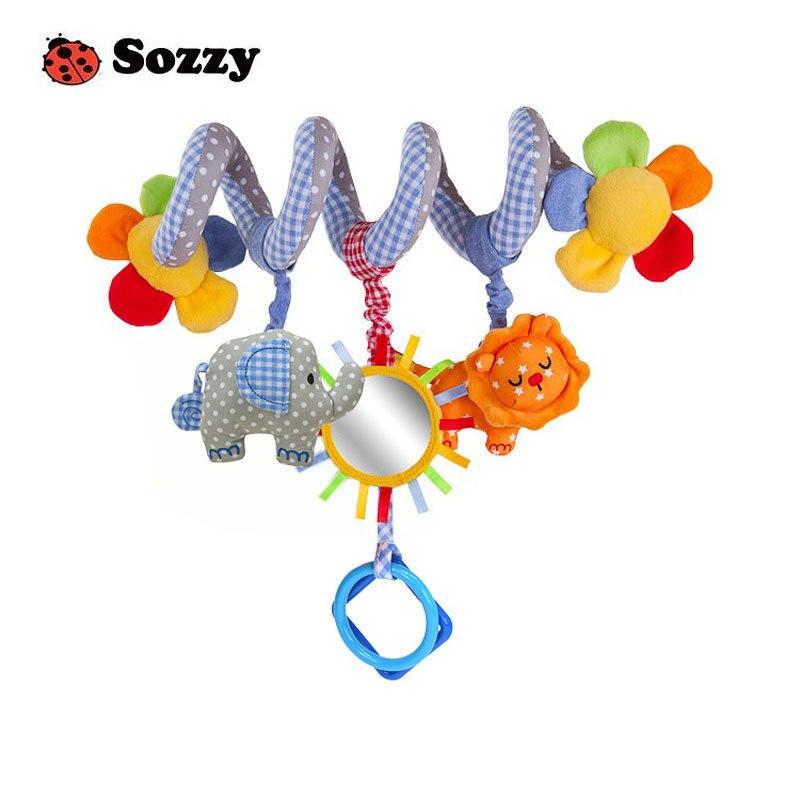 Детская набивная погремушка Sozzy 35 см, плюшевая кукла, волшебное зеркало, музыкальный звук, автомобильные игрушки, кольцо-колокольчик, младен...