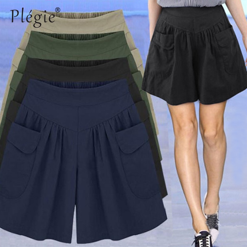 Pantalones cortos Plegie 2020 de verano sueltos e informales de talla grande para mujer, pantalones cortos de cintura alta, falda de moda, pantalones cortos de playa, pantalones cortos de talla grande para mujer