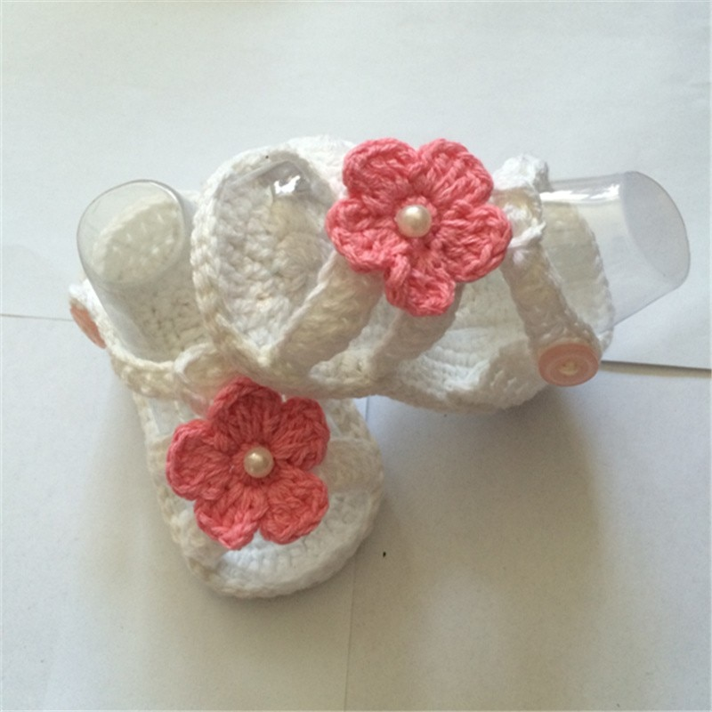 Grey Crochet Baby Ballerina Shoes in Cotton with Pink Crochet Flower, Spring and autumn Crochet Baby