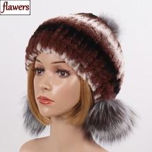 2019 Women's Genuine Rex Rabbit Fur Hats Winter Rex Rabbit Fur Beanies Cap Striped Silver Fox Fur Hat Warm Real Fur Knit Caps