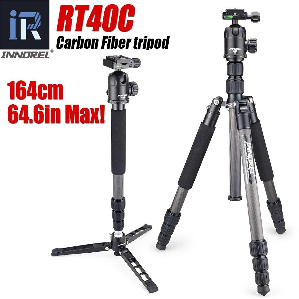 RT40C Professional Carbon Fiber tripod for digital dslr camera lightweight stand high quality tripe for Gopro tripode 164cm max