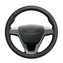 Couverture de volant de voiture en cuir PU noir   Cousu à la main, pour Lada Vesta 2015 2016 2017 2018 2019 x ray 2015-2019