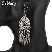 seblasy punk hollow flowers water droplets statement earrings tibet silver color leaves tassel dangle earrings for women jewelry