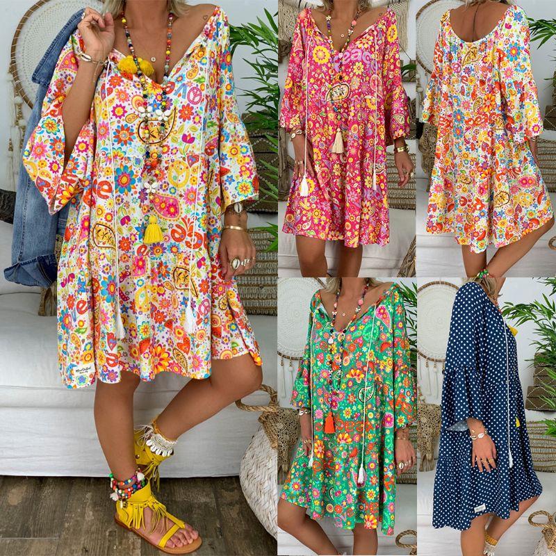 Summer Women Boho Floral Long Sleeve Dress Holiday Beach Shirt Dress Ladies Print Mini Dress Plus Size S-5XL plus size floral handkerchief hem cami dress