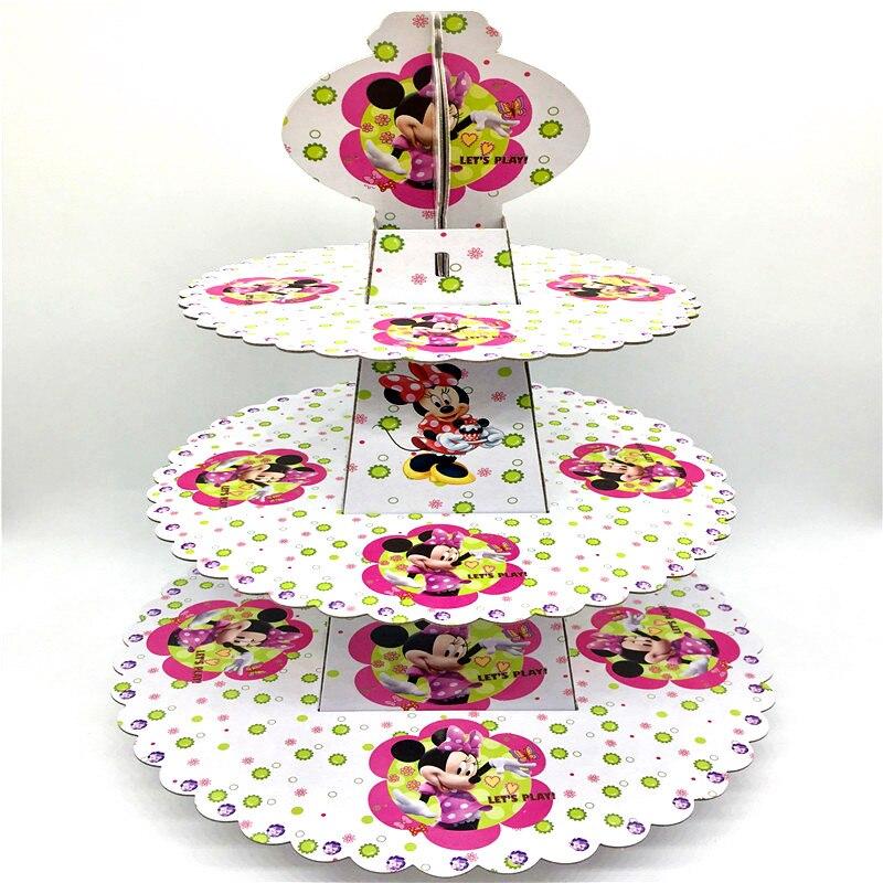 1 Uds. Soporte con diseño de ratón Minnie para pastel de dibujos animados de 3 niveles, soporte para magdalenas y tartas, soporte para niña, suministro para fiestas de cumpleaños, Envío Gratis