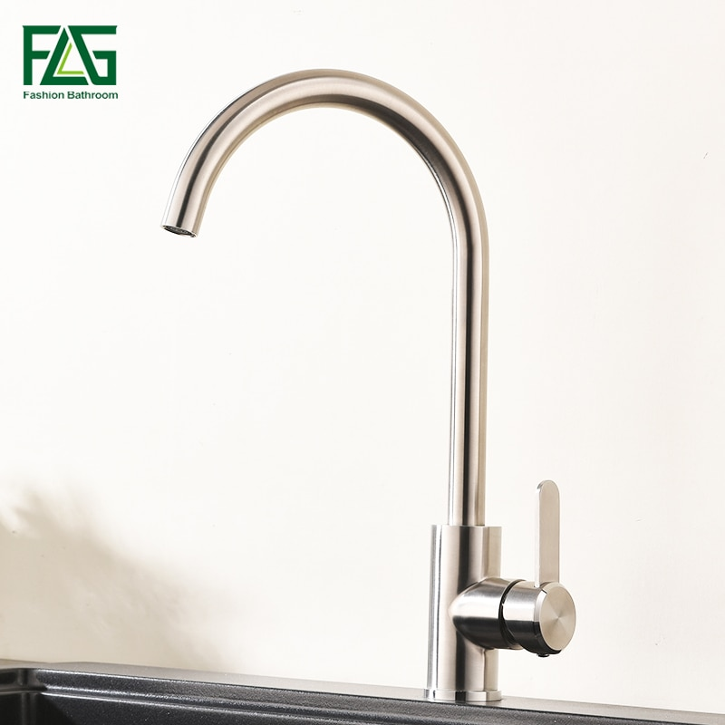 FLG kitchen Faucet 304 Stainless Steel nickel Brushed Kitchen Sink Faucet Sink Tap 360 Swivel kitchen mixer tap flg spring kitchen faucet swivel side sprayer dual spout kitchen mixer tap brushed nickel kitchen sink faucet 360 rotation