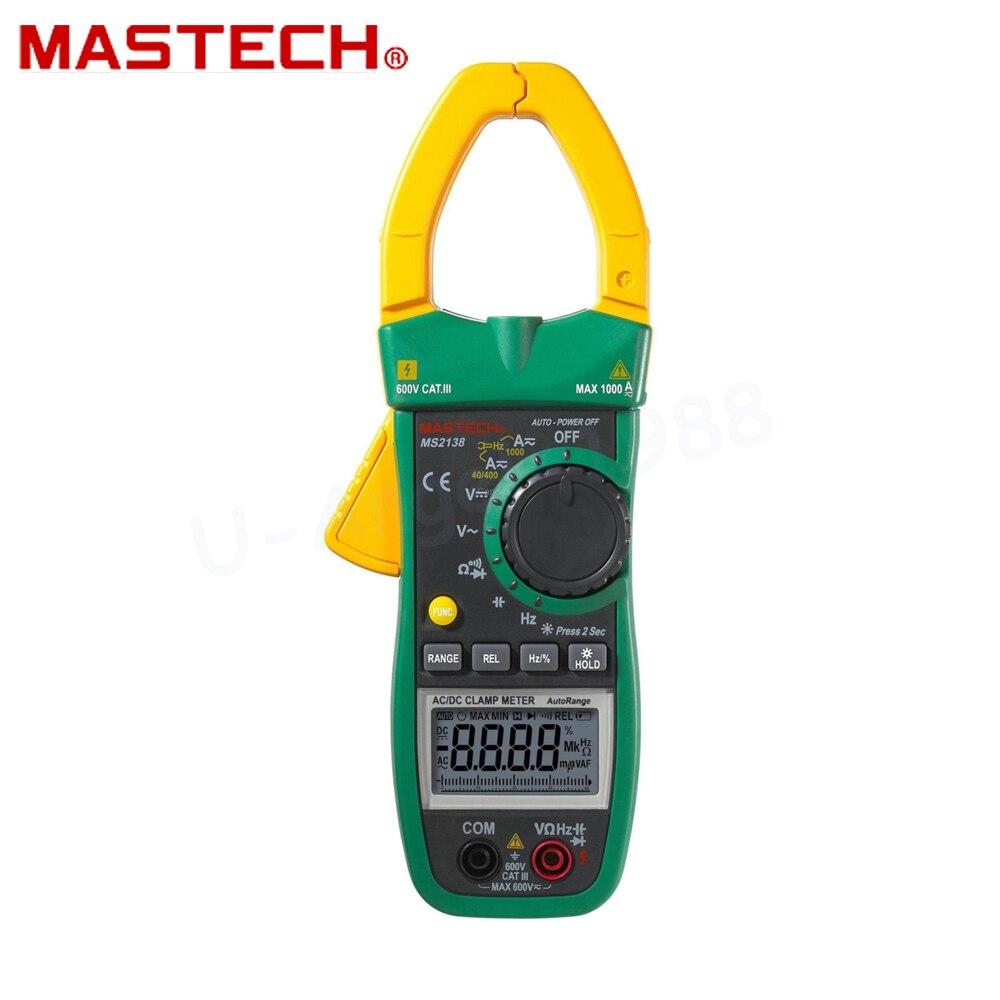 Mastech-multímetro de medidor de Pinza Digital MS2138, herramienta de diagnóstico de corriente...