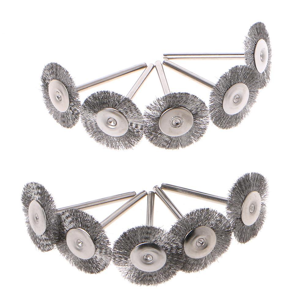 10 Uds 22mm platino hoja de alambre de acero inoxidable cepillo Dremel herramienta rotativa para Mini taladro Dremel pulir Dremel