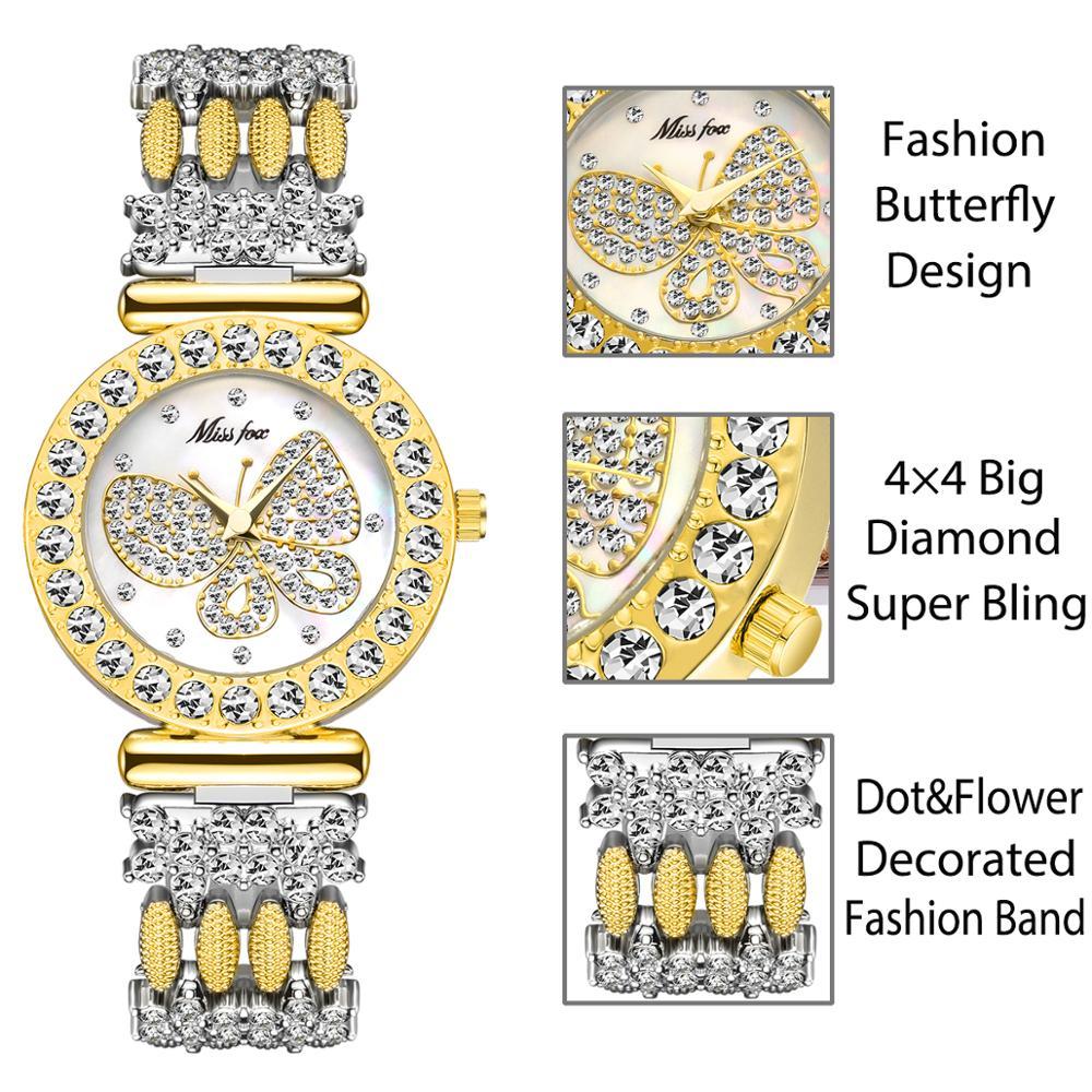 MISSFOX Butterfly Women Watches Luxury Brand Big Diamond 18K Gold Watch Waterproof Special Bracelet Expensive Ladies Wrist Watch enlarge