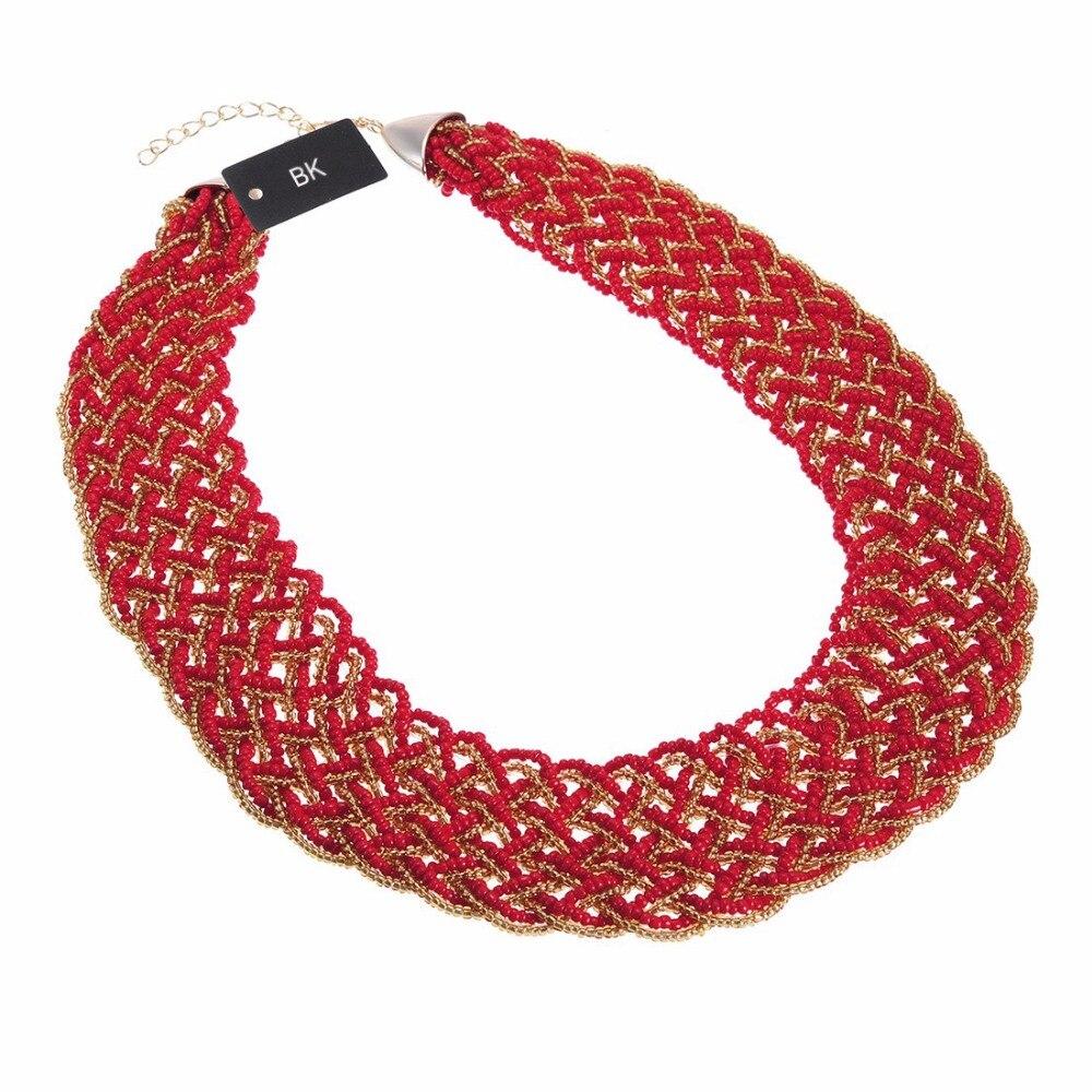 BK Multi Color moda cadena de oro de resina cuentas de semillas Chunky gargantilla declaración colgante collar babero