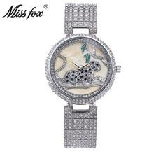 Relojes de diseño de esfera único de lujo para mujer, diamantes de imitación de leopardo, acero inoxidable, Diamante completo, resistente al agua, reloj femenino, reloj para mujer