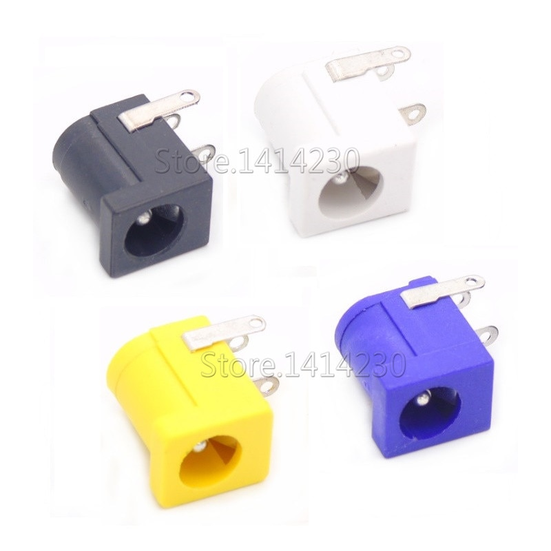 Gran oferta DC-005 conector de enchufe DC negro blanco amarillo y morado DC005 5,5*2,1mm 5,5*2,5 2,1