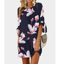 Womens Floral Print Bowknot Sleeves Cocktail Mini Dress Casual Party Dress  ropa mujer vestidos de fiesta de noche  #yl