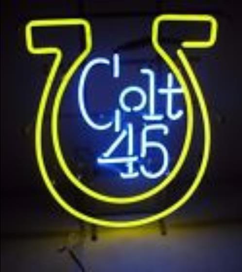 Vintage Colt 45 Malta licor vidrio señal de luz de neón cerveza Bar