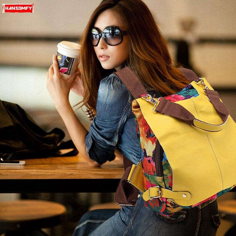 Mochila feminina impressão bolsa de ombro feminino cor combinando saco multifuncional couro genuíno mochilas lona com couro 2020