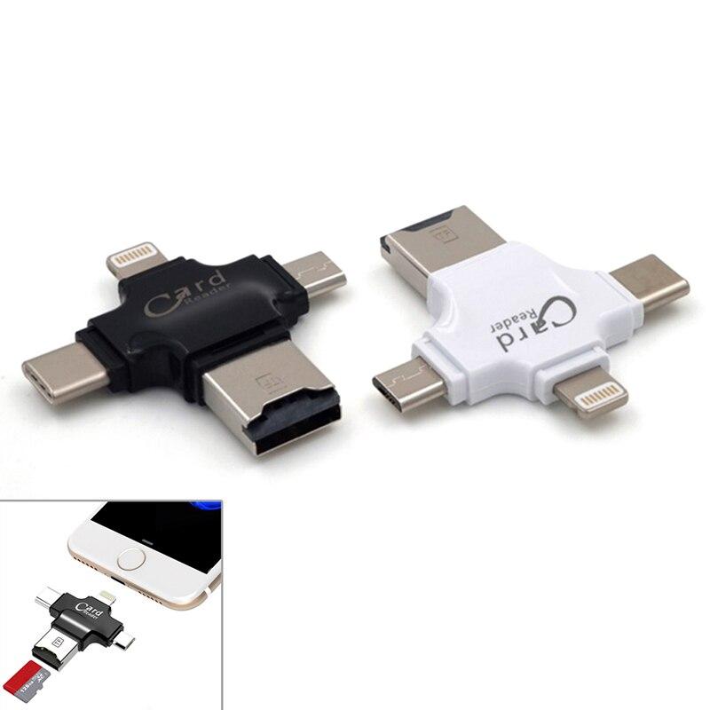 Multifunktionale Micro USB Typ C OTG TF Kartenleser für IOS iPhone Android Für Samsung 4 in 1 TF (Micro SD) Kartenleser