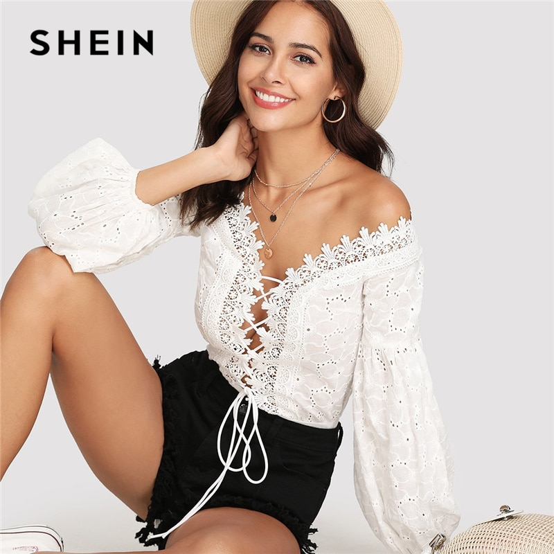 SHEIN Lace Trim Plunge Neck Eyelet bordado Bodysuit 2018 verano obispo manga Deep cuello pico Romper mujeres blanco Sexy Bodysuit