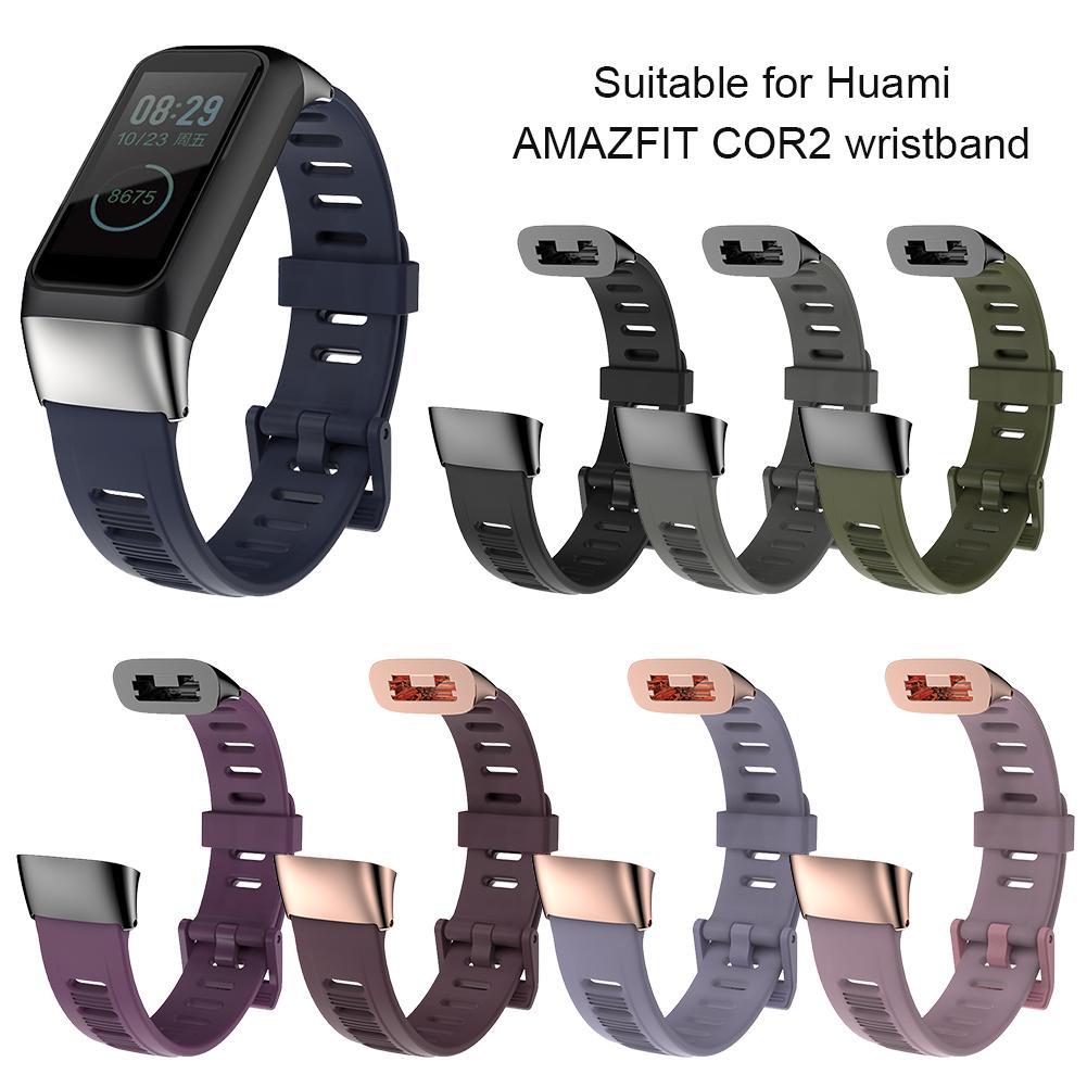 Silicone pulseira de relógio de substituição de correias de pulso buraco plano pulseira para huami amazfit cor 2 pulseira tpu pulseiras de relógio acessórios