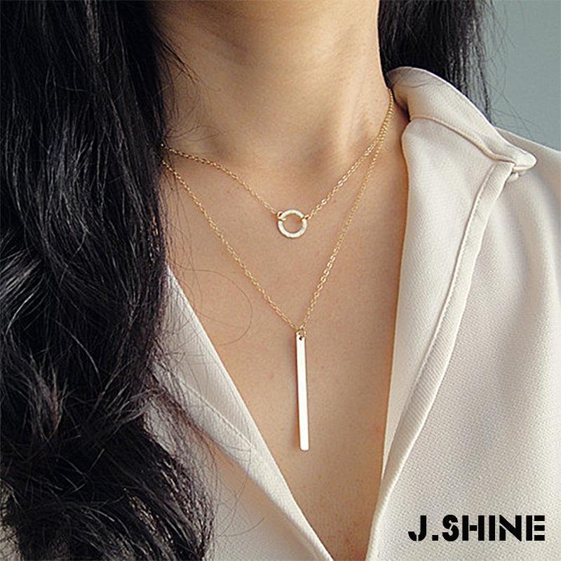Jshine minimalismo colar para mulher corrente de ouro geométrica pingente colar gargantilha colar círculo vara pingentes para mulher
