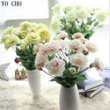 YO CHO nouveau 4 têtes bricolage faux Roses fleurs Eustoma Grandiflorum Table de mariage centres de Table orchidée plantes fleurs décoratives maison