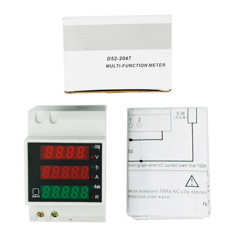 5 шт./лот D52-2047 Тип рельса цифровой измеритель напряжения тока Вольтметр переменного тока 0-100A AC80-300V амперметр