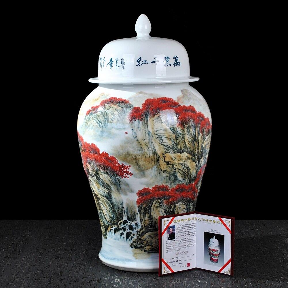 Wang Bin de rangement en céramique   Conteneur peint de stockage pour réservoirs généraux décolicien, grands ornements décoratifs en céramique