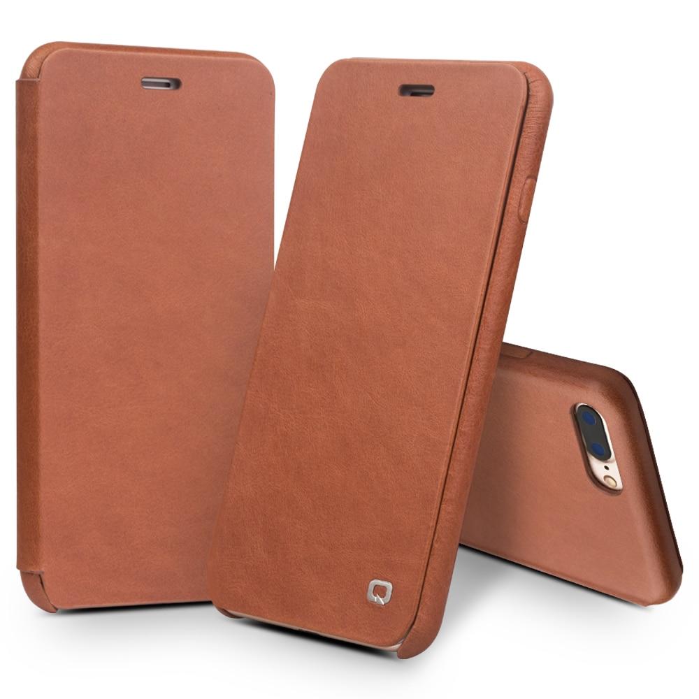 QIALINO-جراب جلد أصلي بغطاء لهاتف iPhone 8 ، فاخر ، نحيف للغاية ، صناعة يدوية ، نقي ، لهاتف iPhone 8 plus ، 4.7/5.5 بوصة