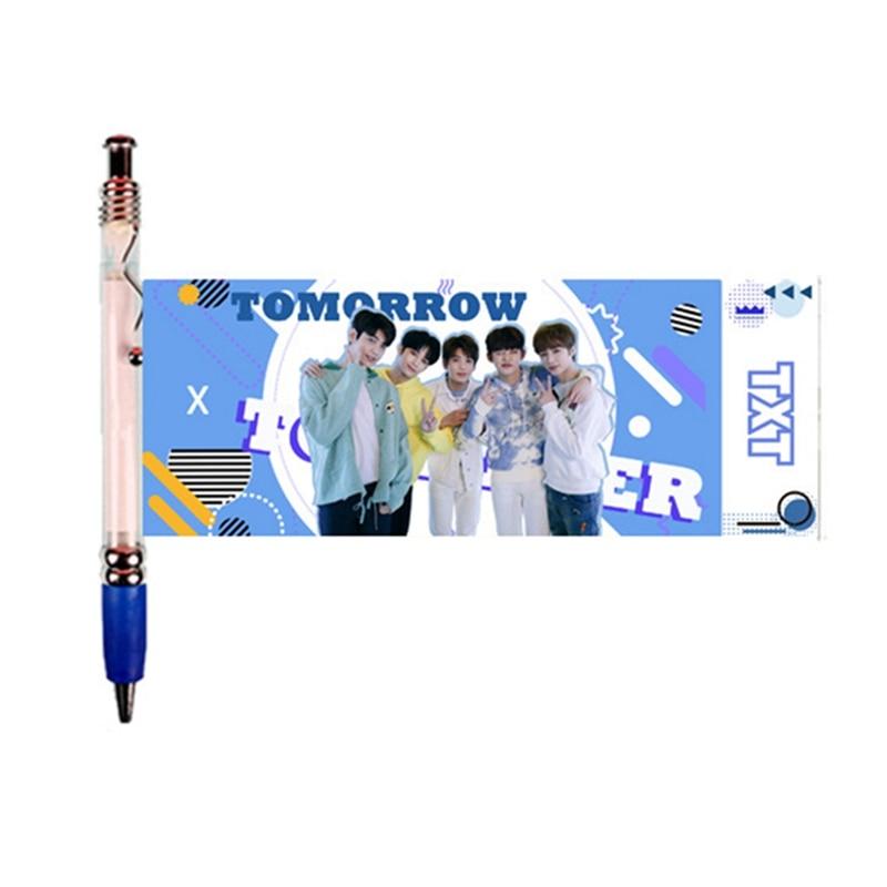 Nova estrela coreana exo blackpink txt got7 itzy duas vezes gel caneta kawaii 0.5mm tinta preta gel caneta com bonito foto fãs presentes