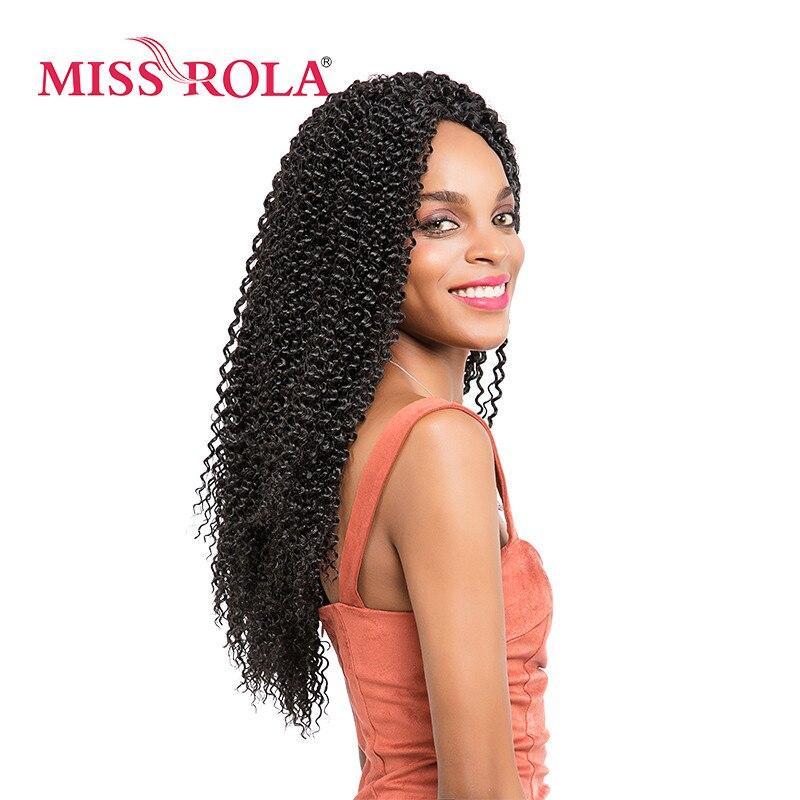Trenzas negras Bohemias de Miss Rola, 1B #, 36 raíces/paquete Kanekalon a baja temperatura 85g, trenzas de ganchillo sintético rizado para mujer