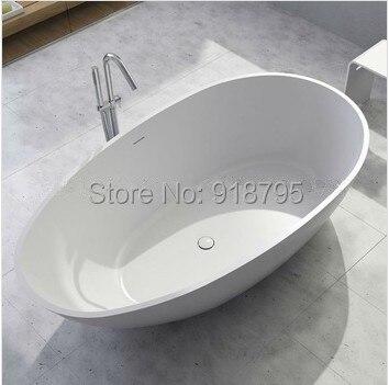 حوض استحمام قائم بذاته بيضاوي غير لامع أو لامع ، حجر سطح صلب موافقة على CUPC ، كوريان ، 1780 × 980 × 510 مللي متر ، RS6553
