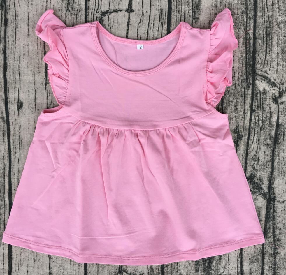 قميص بناتي مكشكش من القطن الناعم ، بلوزة صيفية ملونة مرفرفة ، ملابس أطفال بوتيك بالجملة