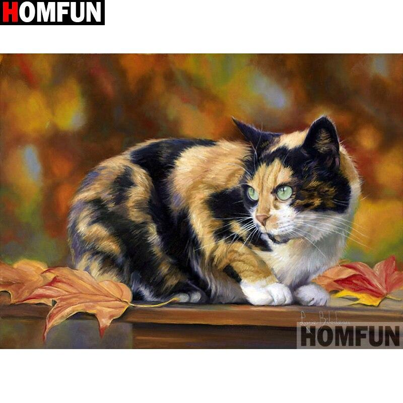 "HOMFUN cuadrado completo/taladro redondo 5D DIY diamante pintura ""Animal cat"" bordado 3D punto de cruz 5D hogar decoración A13339"